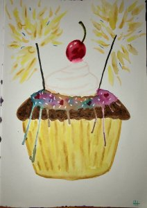 Catching up on my prompts for Quarantine Art Challenge I'm doing with friends. Prompt was Cupcake.