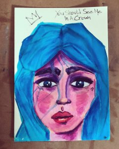 """Today's quarantine art challenge was """"Queen/King"""". Watercolour Markers, Inktense Pencil, pigme"""