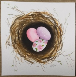 Combination LMA nest tutorial and Emma Lefebvre inspired eggs. Arteza 100% Cotton paper Winsor and N