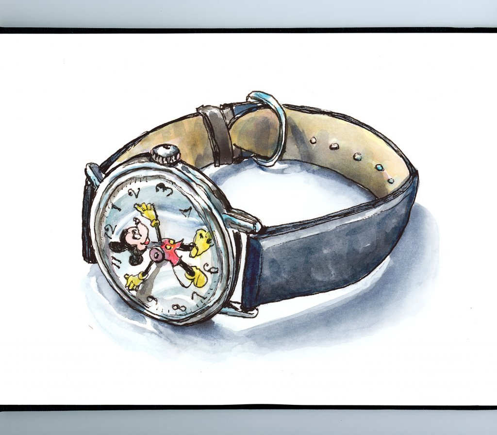 Mickey Mouse Watch Watercolor Illustration Sketchbook Detail