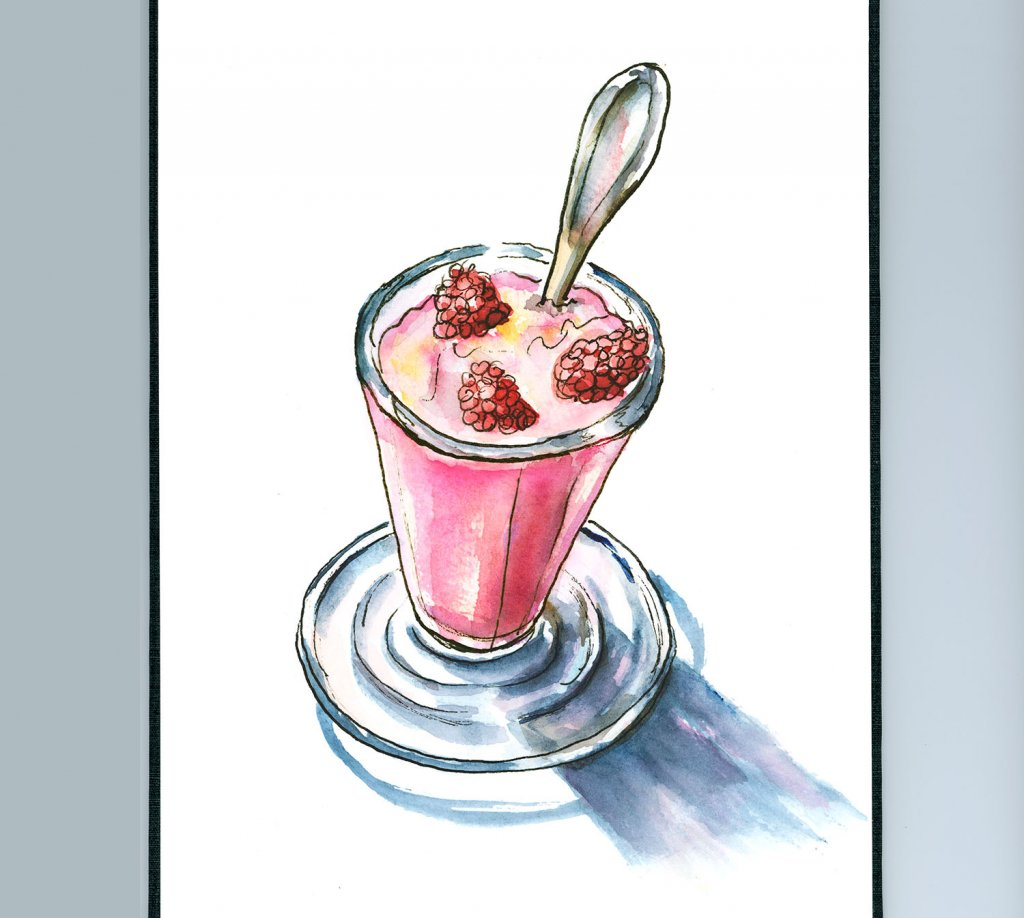 Strawberry Raspberry Drink Glass Watercolor Illustration Sketchbook Detail