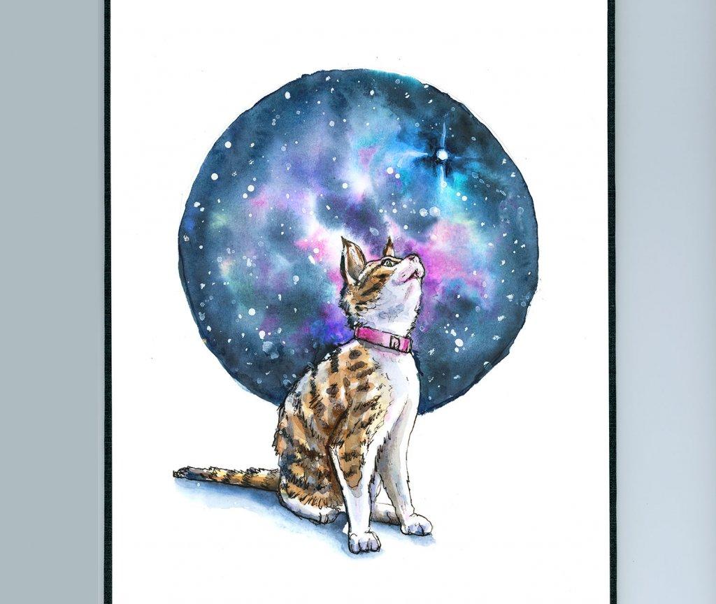 Cat Looking Up Stars Galaxy Watercolor Painting Sketchbook Detail