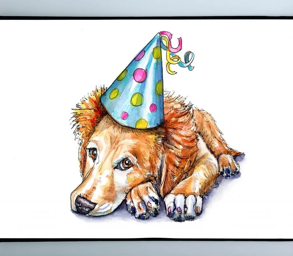 Dog Wearing Party Hat Watercolor Illustration Sketchbook Detail
