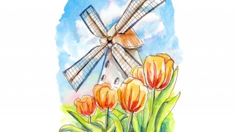 Windmill And Tulips Watercolor Painting