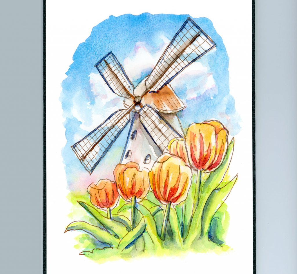 Windmill And Tulips Watercolor Painting Sketchbook Detail