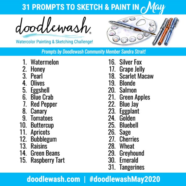 Doodlewash May 2020 Art Challenge Prompts