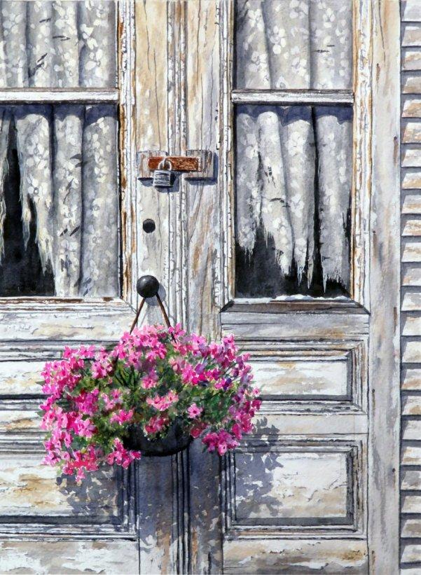 Hanging On Front Door Flowers Watercolor Painting