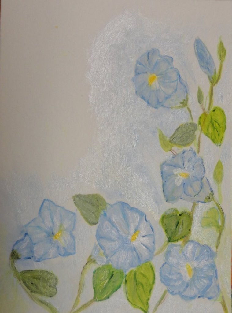 This is the Heavenly Blue Morning Glory. Our challenge word yesterday was Nook. When I was growing u