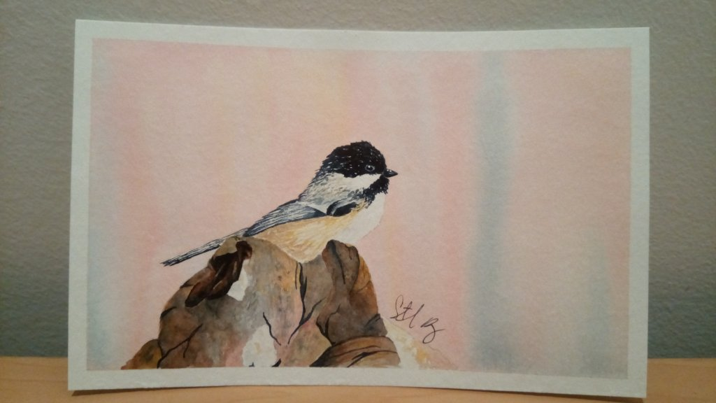 I decided to do one more bird, mostly because I liked the background. I masked off the bird and did