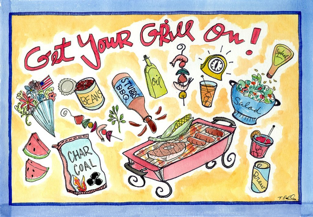 Get Your Grill On Food Illustration by Tina Folks