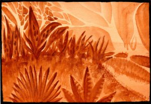 Mars Landscape. Done with just one color – QoR's Mars Orange Deep on Paul Reubens Cold P