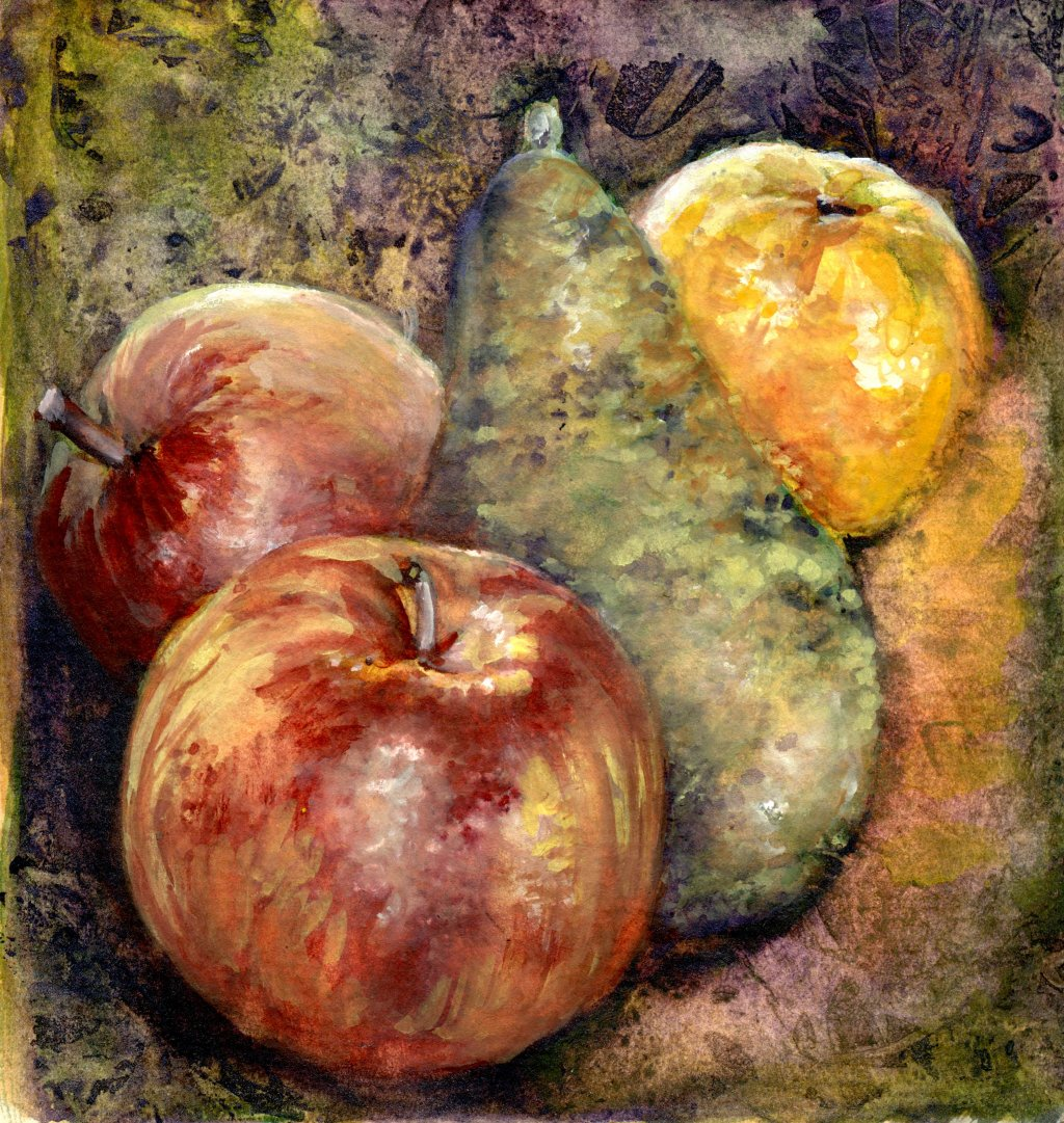 Watercolor still life apples pears