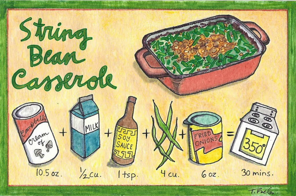 Green String Bean Casserole Illustration by Tina Folks
