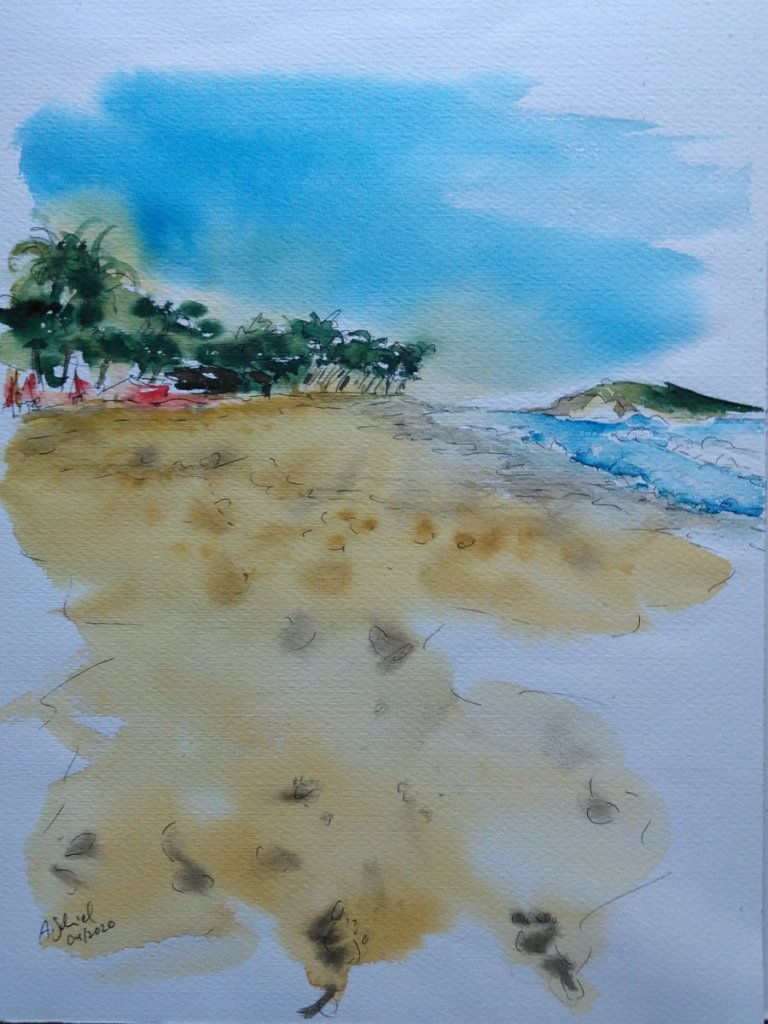 #doodlewashApril2020 day 17: sand, no.2. I couldn't decide today, so I ended up painting two &