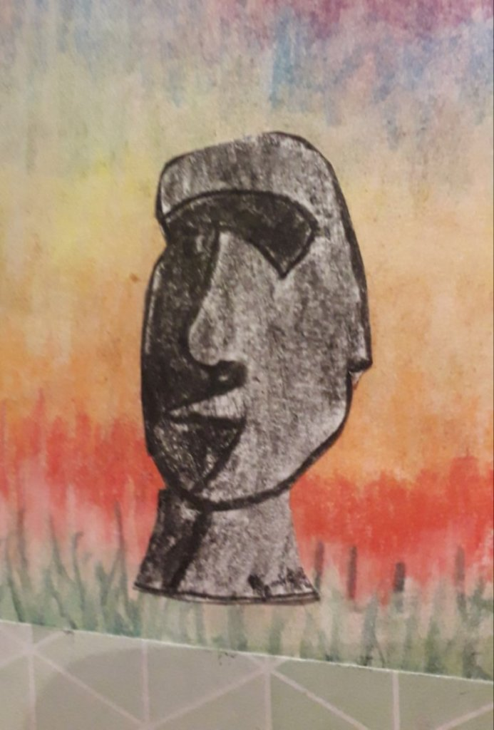This is a simple pastel Easter Island sketch. easter isle