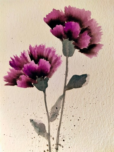 Purple Carnation Watercolor Painting Gnadia Art