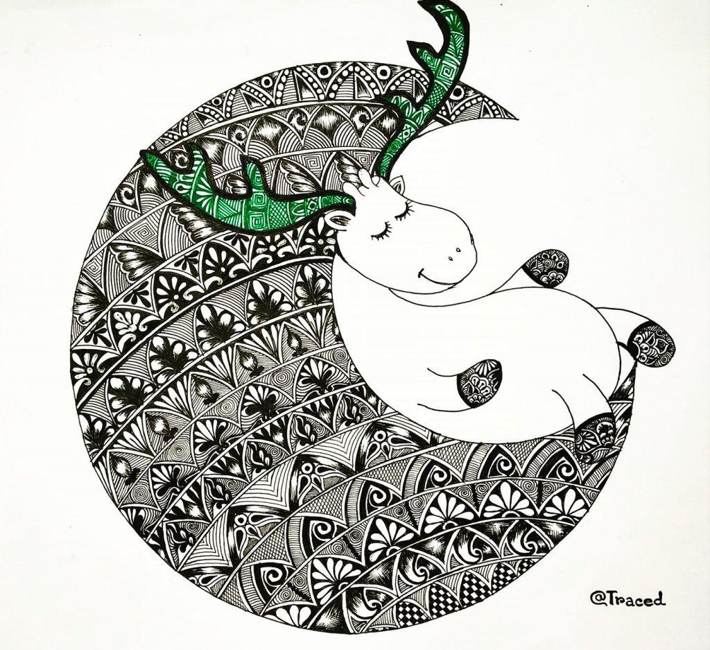 Cute Doodle art on Moon. 86267768_191376245548434_2494133542246678528_o