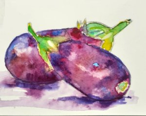 First time painting vegetables. Aubergines, wet on wet, freshly painted for the May Challenge. 95409