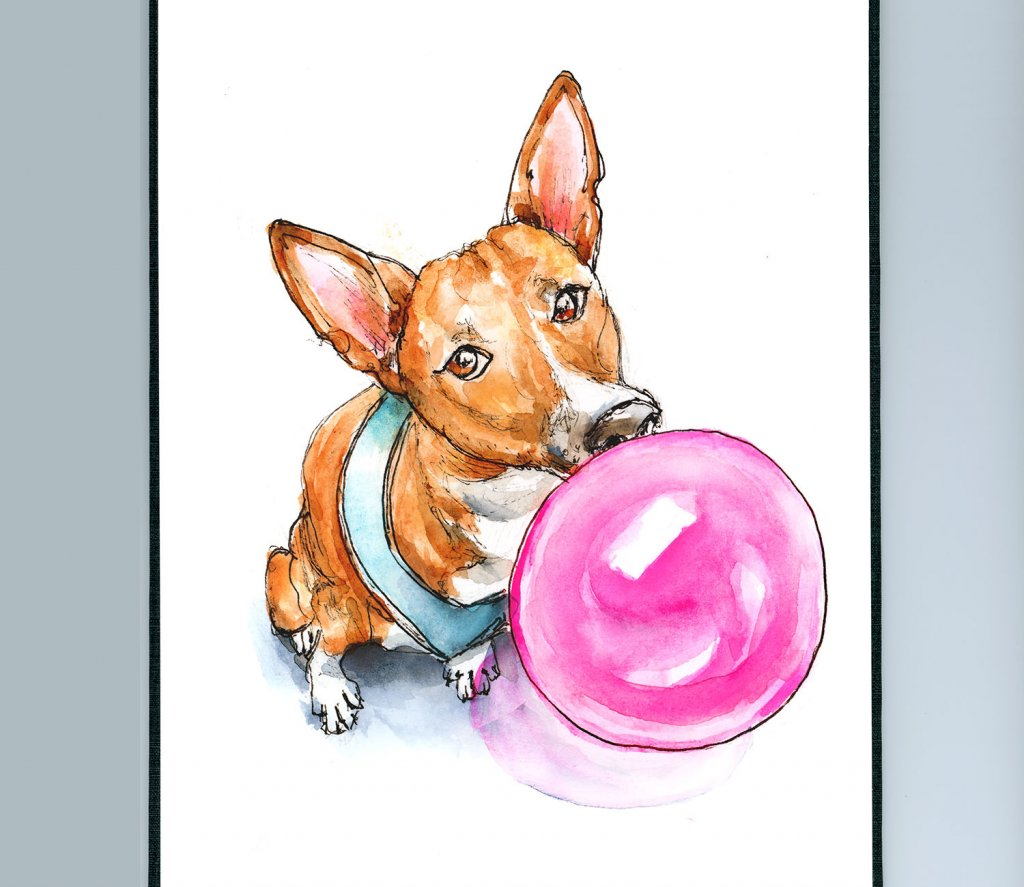 Dog Blowing Bubble Basenji Phineas Watercolor Illustration Sketchbook Detail