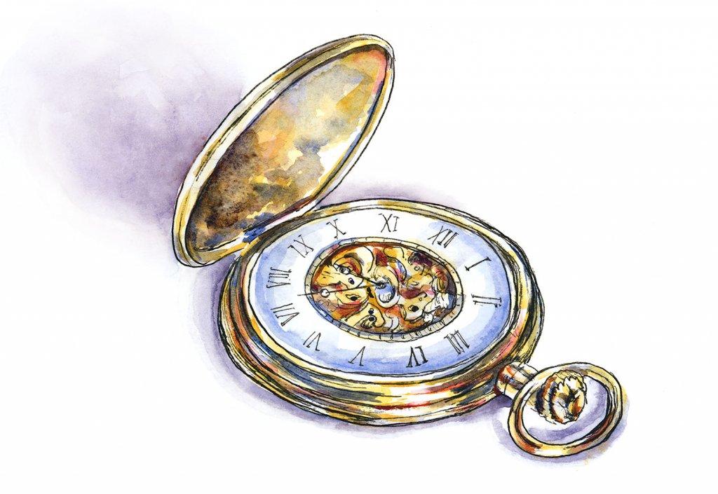 Gold Pocket Watch Watercolor Illustration