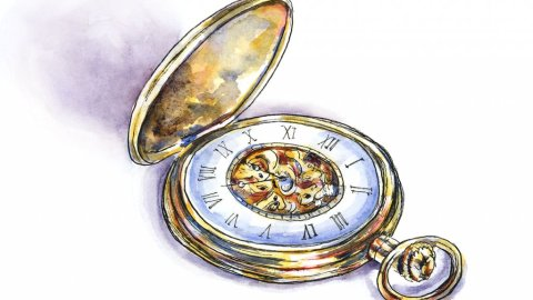 Gold Pocket Watch Watercolor Illustration