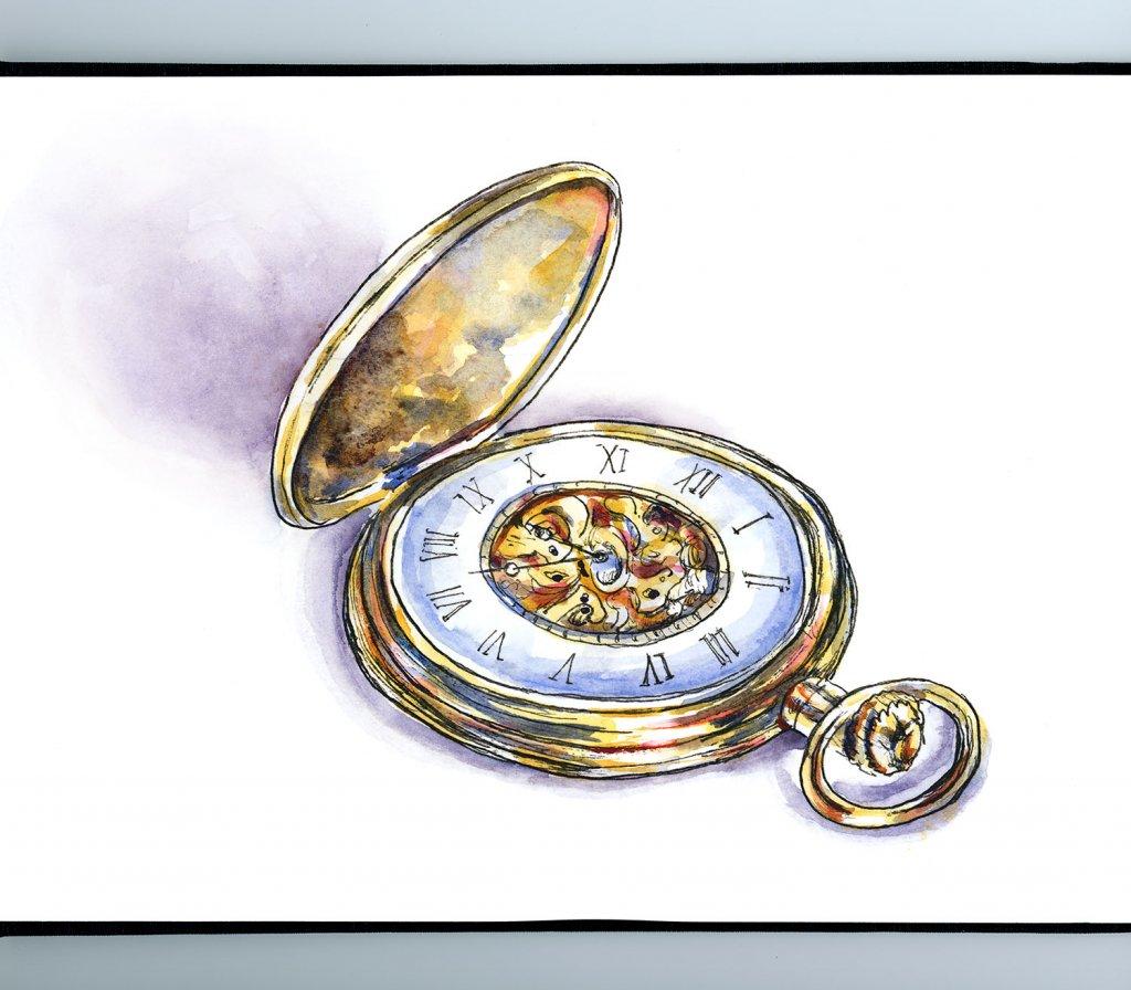Gold Pocket Watch Watercolor Illustration Sketchbook Detail