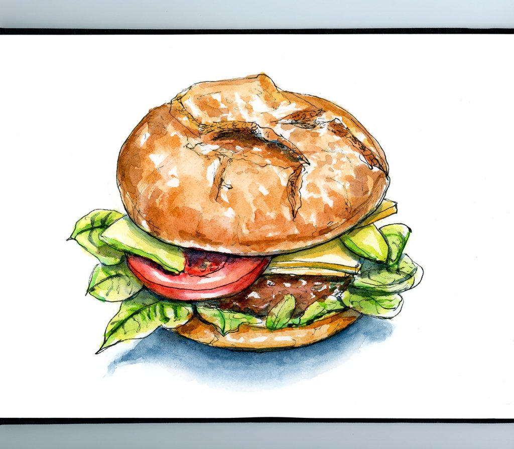 International Burger Hamburger Day Watercolor Illustration Sketchbook Detail