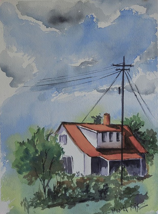 House And Sky Watercolor Painting by Manish Rajguru