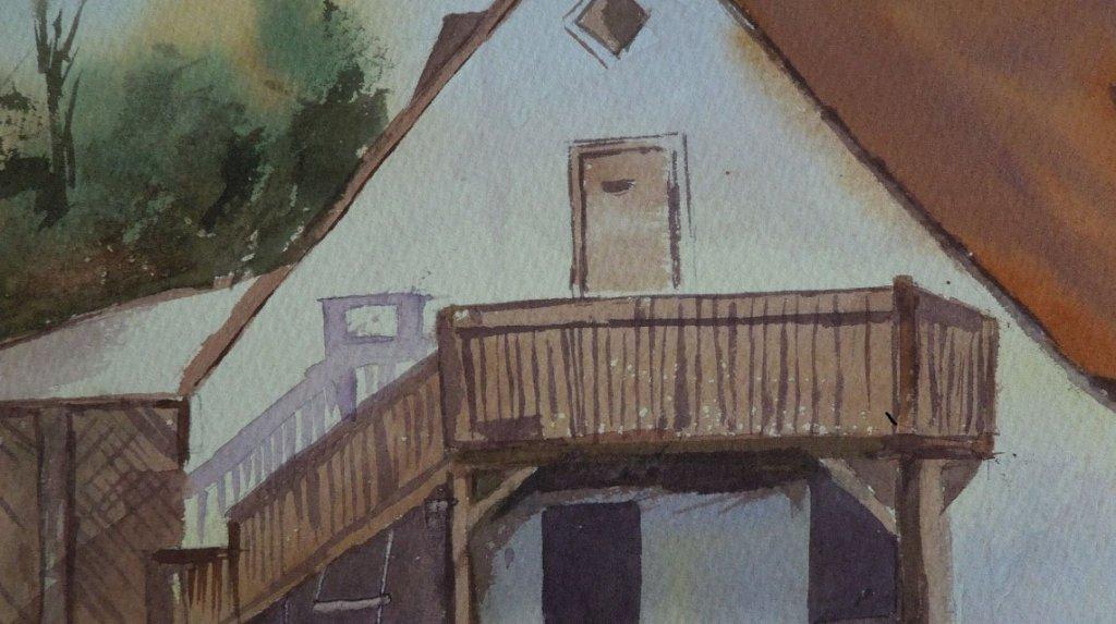 House Stairs Watercolor Painting by Manish Rajguru