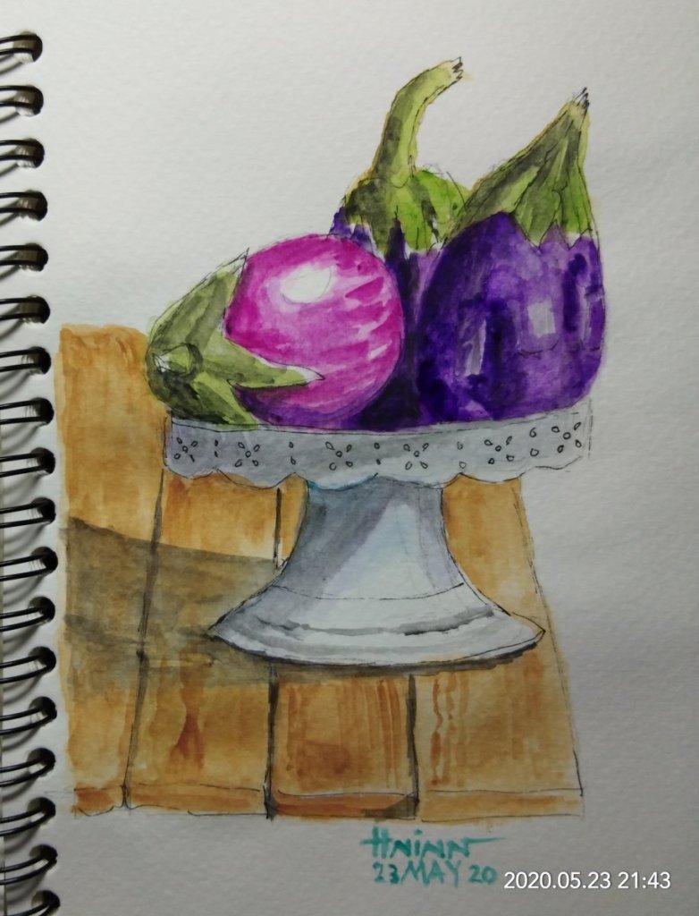 #doodlewashMay2020 #WorldWatercolorGroup #Beginner #23 #Eggplant #23May2020🎉 IMG_20200523_21