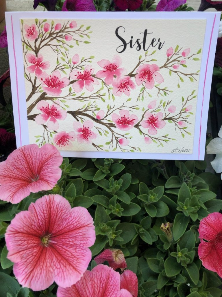 One of the 11 cards I painted for Mother's Day. I totally forgot to take pictures and every on