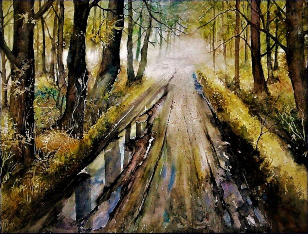 <>aquarelle 50 x 40 cm, sur papier 300 g/ m² Ornières après l'averses. – Copie