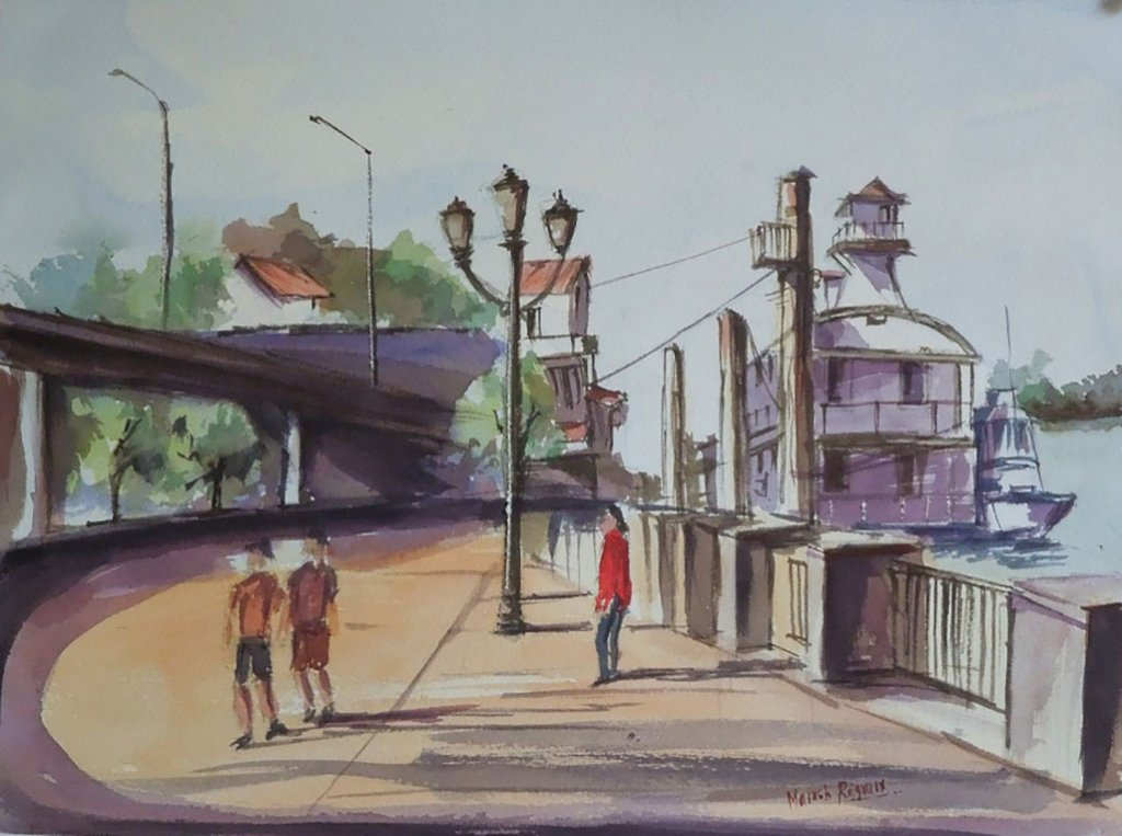 People On Wharf Watercolor Painting