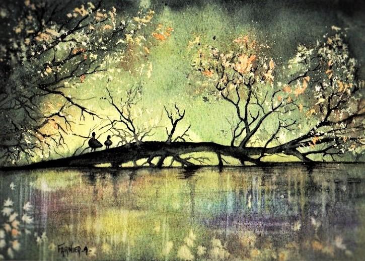 """""""AMOUR CACHÉ """"dans la rivière Dronne dans la Périgord (24) FRANCE aquarelle 40 x 50 c"""
