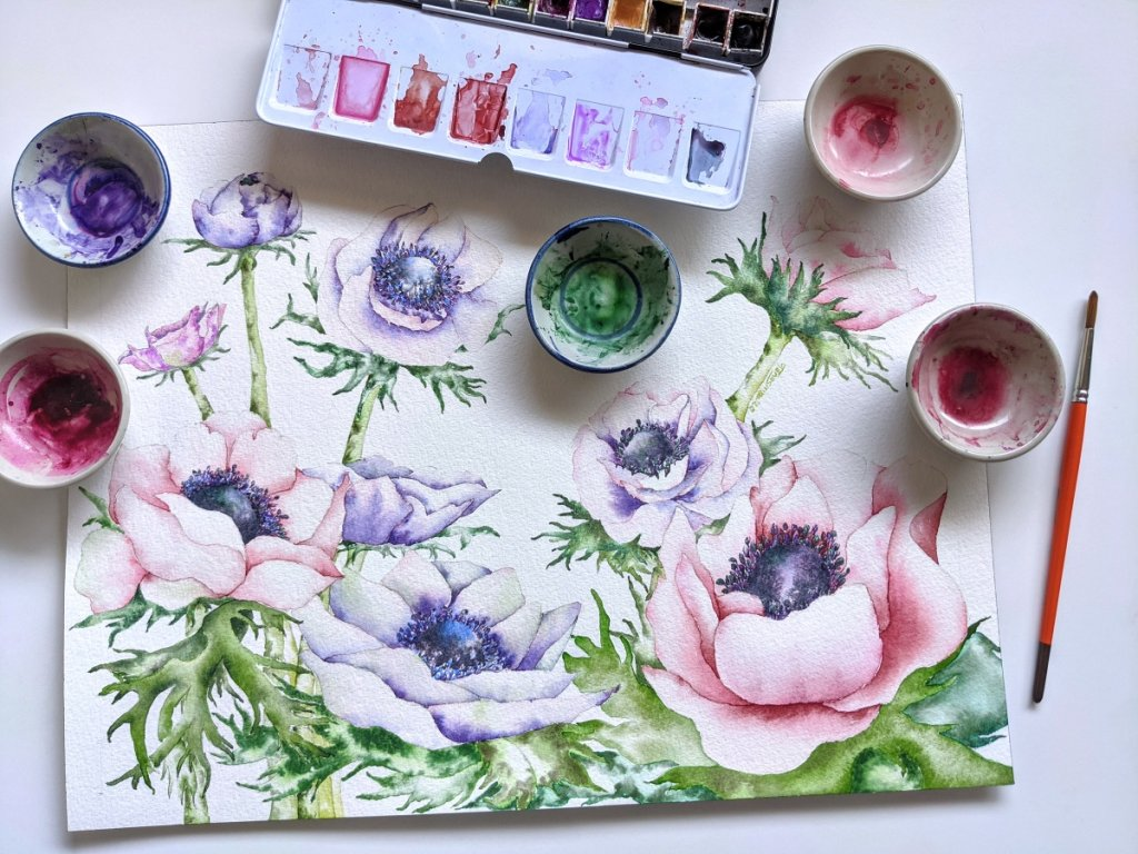 Pink Purple Flowers Watercolor Painting and Palette
