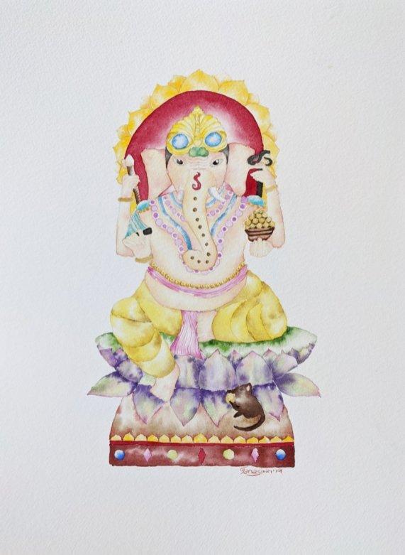 Ganesh Watercolor Painting