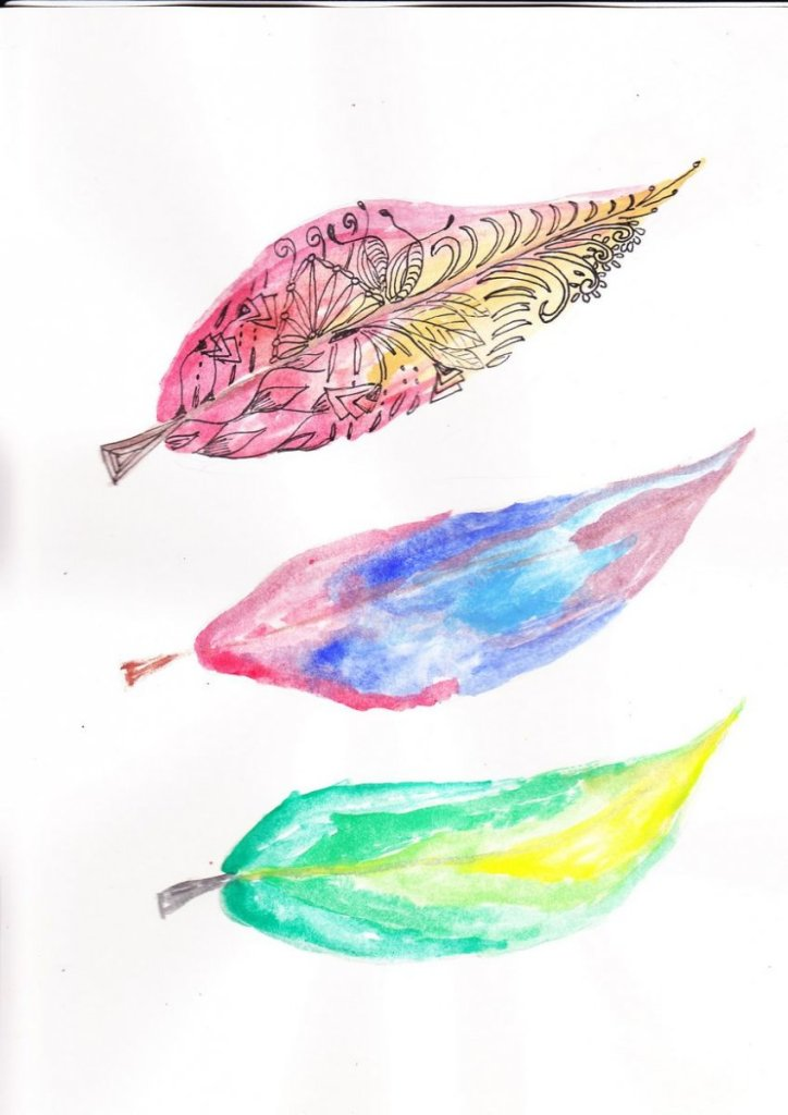 left: feathers finished right: start of this project featherson watercoloursverenopzet
