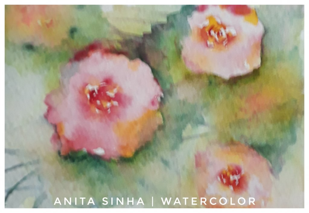 Day 15/100 – Direct watercolour rose flowers painting on a cold pressed watercolour sketchbook