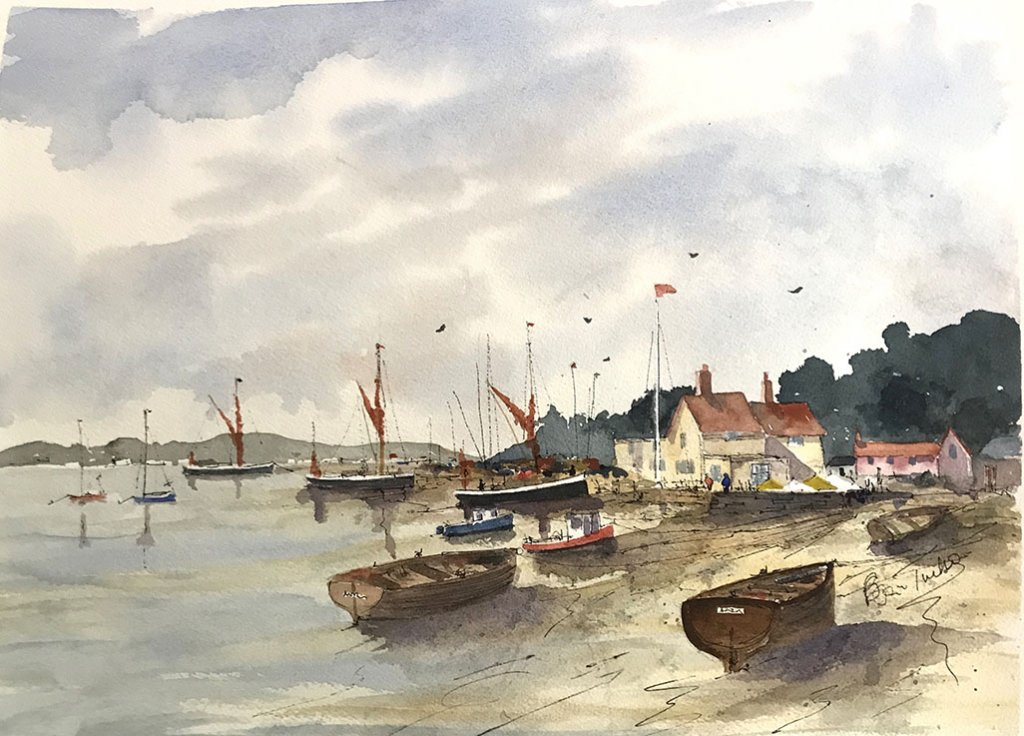 Brian Tucker Watercolour Painting Boats Water Landscape