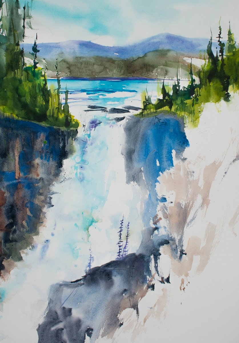Waterfall Landscape painting by Angela Fehr