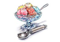 Ice Cream Scoops Watercolor Painting
