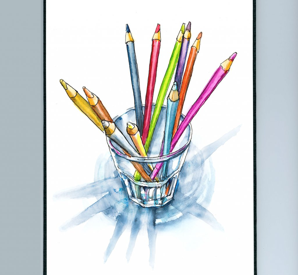 Colored Pencils In Glass Cup Watercolor Painting Illustration Sketchbook Detail