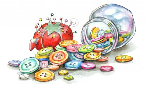 Buttons Jar Tomato Pin Cushion Craft Room Watercolor Painting Illustration