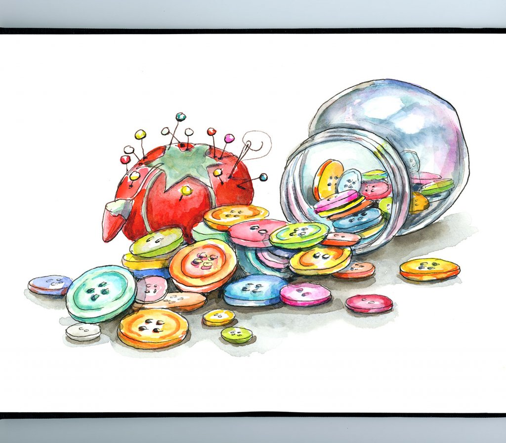 Buttons Jar Tomato Pin Cushion Craft Room Watercolor Painting Illustration Sketchbook Detail