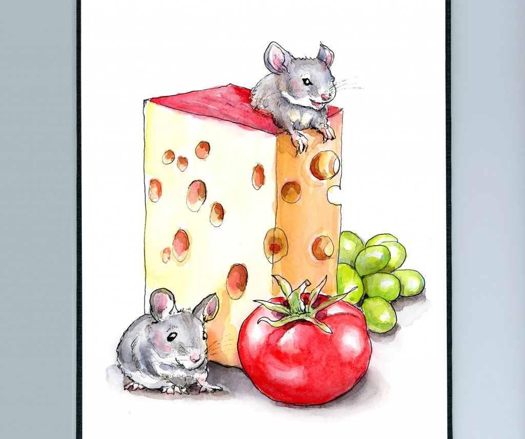Mice Mouse Cheese Swiss Tomato Grapes Watercolor Painting Illustration Sketchbook Detail