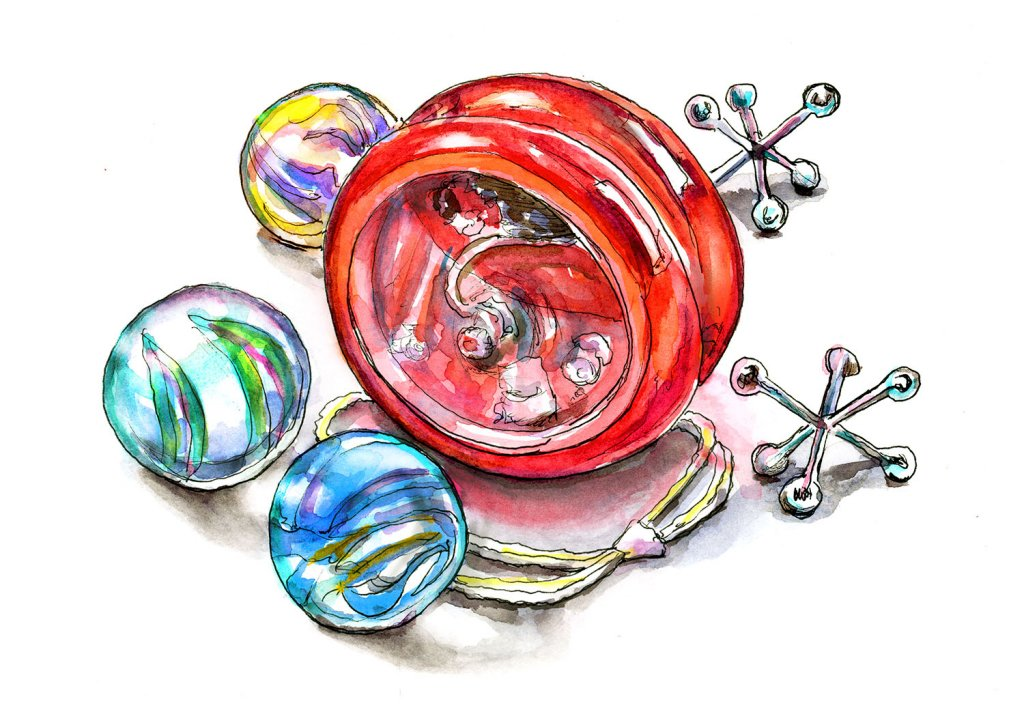 Marbles Yo-Yo Jacks Watercolor Painting Illustration