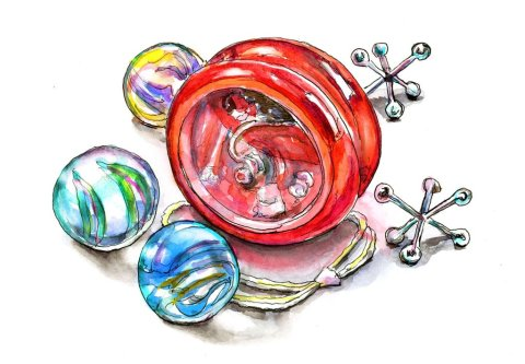 Marbles Yo-Yo Jacks Watercolor Painting Illustration
