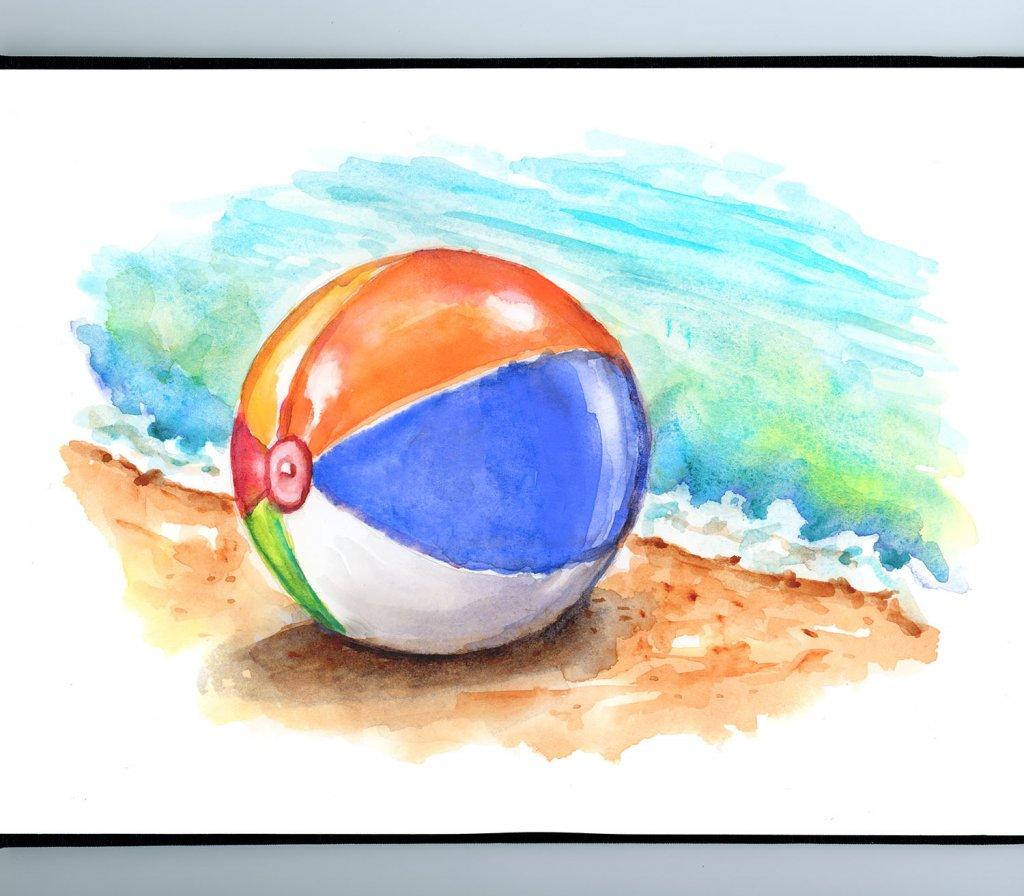 Beach Ball Ocean Sand Watercolor Painting Sketchbook Detail