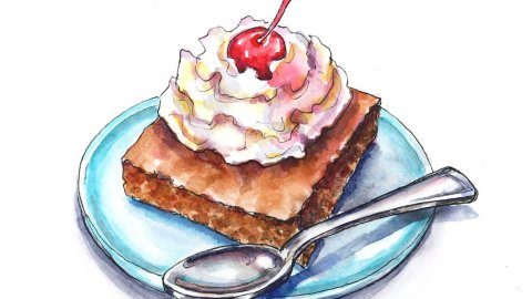 Brownie Whipped Cream Cherry Watercolor Illustration