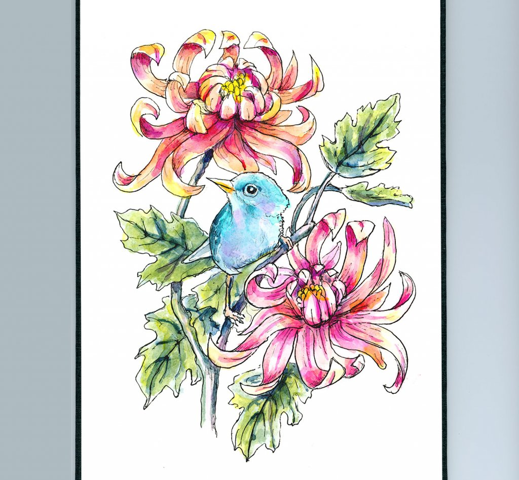 Chrysanthemum And Blue Bird Watercolor Painting Illustration Sketchbook Detail